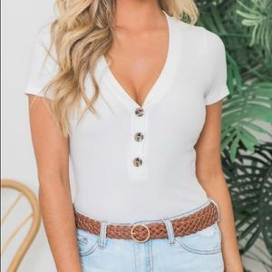 Pink Lily Boutique White Bodysuit.